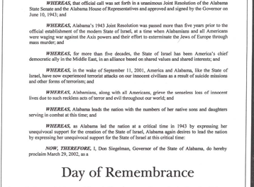 Alabama Legislature Joint Resolution in Support of Israel